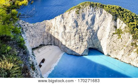 View of beautiful Navagio Beach - shipwreck beach on Zakynthos Island in Greece