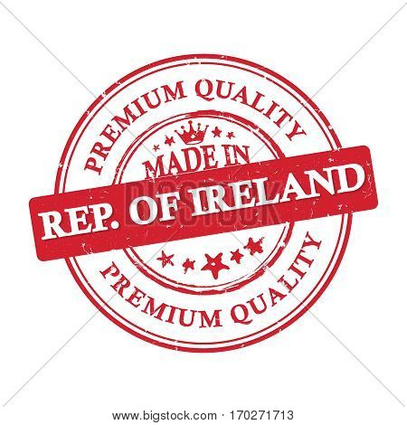 Made in Republic of Ireland, Premium quality, because we care - label / icon / badge. Print colors (CMYK) used