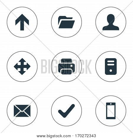 Set Of 9 Simple Application Icons. Can Be Found Such Elements As Arrows, Upward Direction, Smartphone And Other.