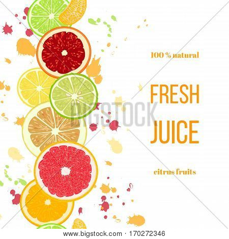 Citrus fruits fresh juice. Bergamot, lemon, grapefruit, lime, mandarin, pomelo, orange, blood orange with splashes and slices. For fresh bar, cocktails cafe restaurant label advertising template