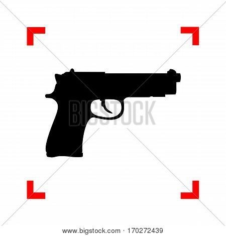 Gun sign illustration. Black icon in focus corners on white background. Isolated.