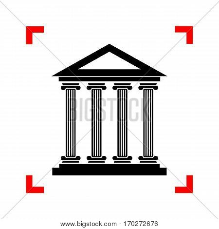 Historical building illustration. Black icon in focus corners on white background. Isolated.