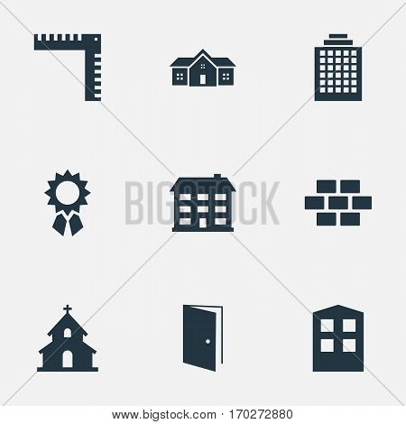 Set Of 9 Simple Structure Icons. Can Be Found Such Elements As Residence, Reward, Construction And Other.