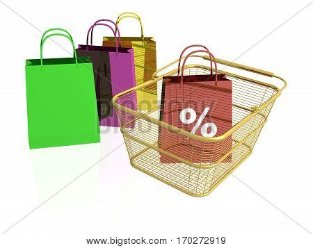 Shop bags and basket on white background 3D illustration.