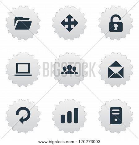 Set Of 9 Simple Apps Icons. Can Be Found Such Elements As Arrows, Envelope, Community And Other.