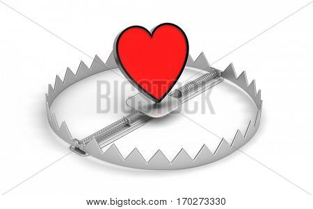 Steel bear trap with red heart symbol isolated on white. 3d illustration