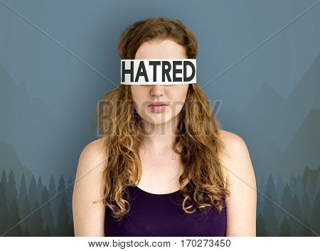 Hatred illustration hide eyes woman