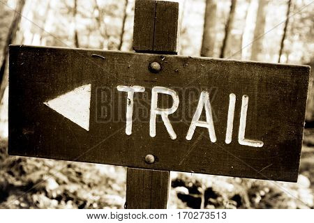 A trail sign made out of wood