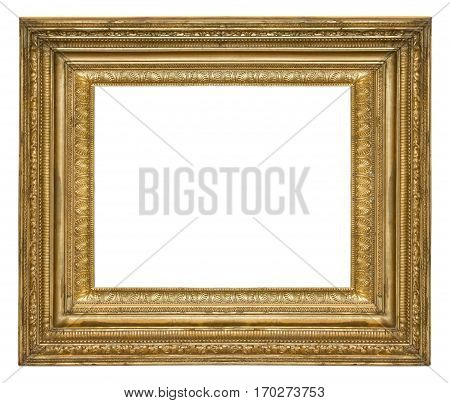 gilded frame with an ornament isolated on white background