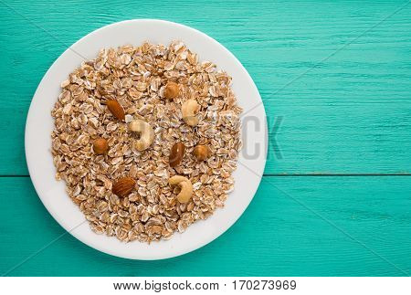 Muesli With Nuts. Muesli On A Wooden Table. Muesli Top View. Healthy Food .