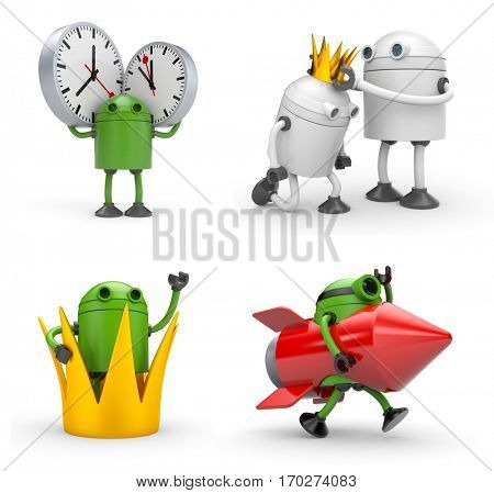 Robot in various situations. Robot with crown, robot with rocket, robot with watches. 3d illustration
