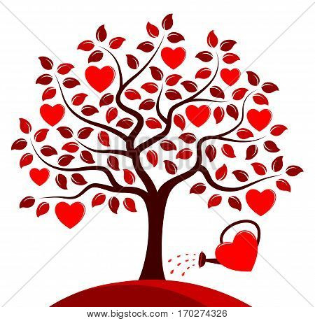 vector heart tree and heart watering can isolated on white background