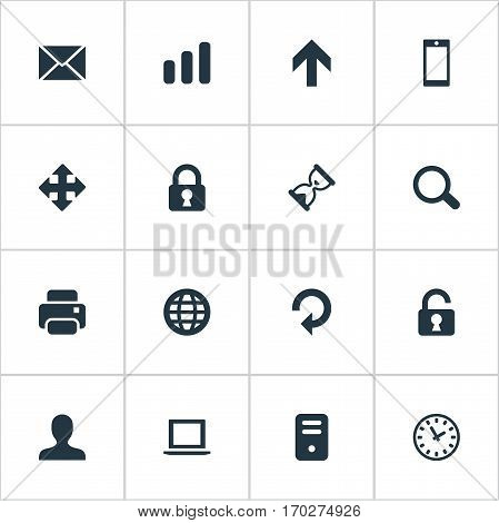 Set Of 16 Simple Application Icons. Can Be Found Such Elements As Printout, Computer Case, Sand Timer.