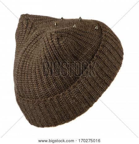 Women's Hat . Knitted Hat Isolated On White Background.brown Hat
