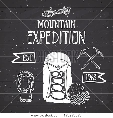 Mountain Expedition Vintage Set. Hand Drawn Sketch Elements For Retro Badge Emblem, Outdoor Hiking A