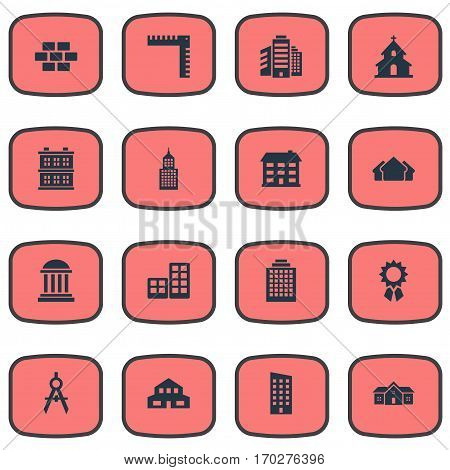 Set Of 16 Simple Structure Icons. Can Be Found Such Elements As Length, Block, Residence And Other.