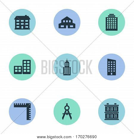 Set Of 9 Simple Construction Icons. Can Be Found Such Elements As Block, Length, Flat And Other.
