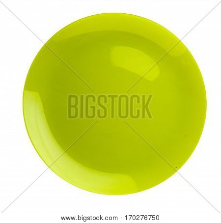 Plate Isolated On A White Background. Plate Top View .green Plate