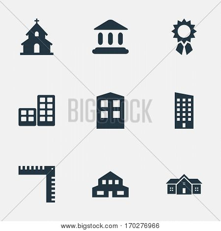 Set Of 9 Simple Construction Icons. Can Be Found Such Elements As Residential, Reward, Floor And Other.
