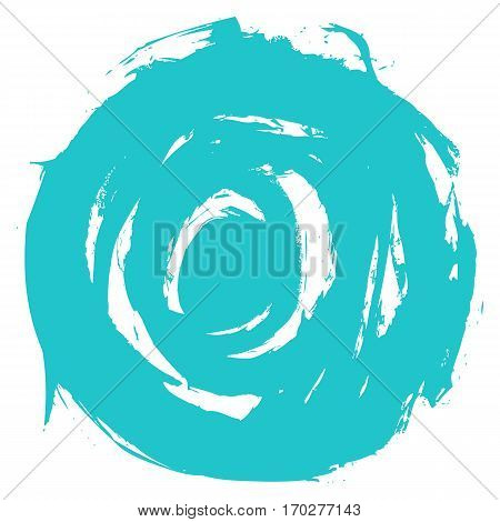 Use it in all your designs. Turquoise brushstroke in the form of a round. Ink sketch drawing created in handmade technique. Quick and easy recolorable shape. Vector illustration a graphic element