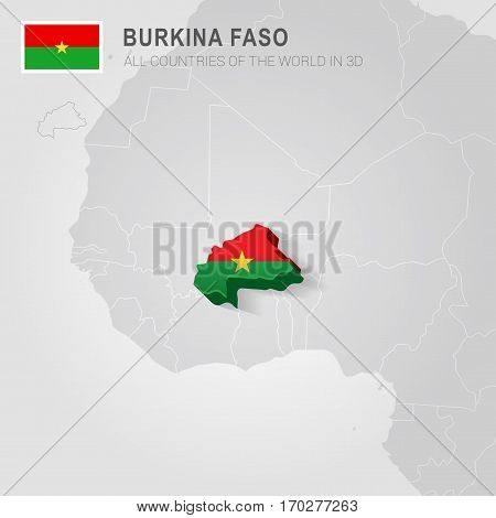 Burkina Faso painted with flag drawn on a gray map.