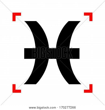 Pisces sign illustration. Black icon in focus corners on white background. Isolated.