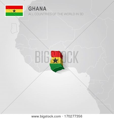 Ghana painted with flag drawn on a gray map.