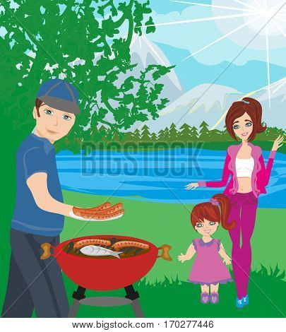 Family picnic and Bbq party , vector illustration