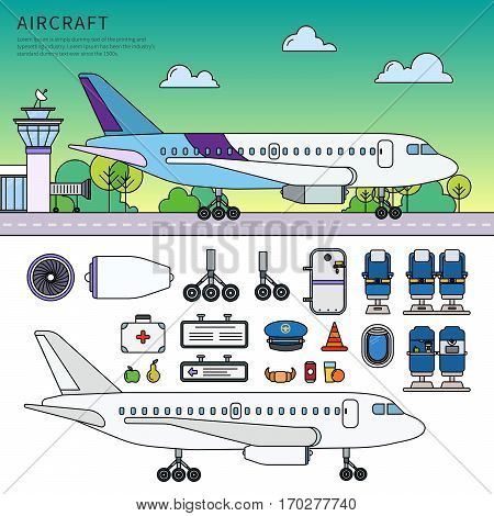 Thin line flat design of the modern aircraft. Icons for aircraft building companies. Aircraft details, wheels, doors, turbines and other airport equipment isolated on white background