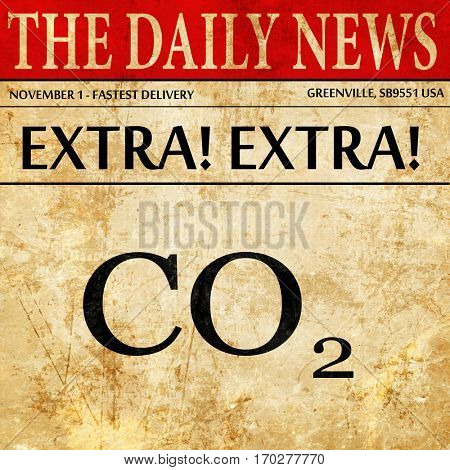CO2 warning sign, newspaper article text