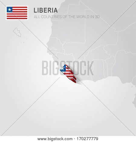 Liberia painted with flag drawn on a gray map.