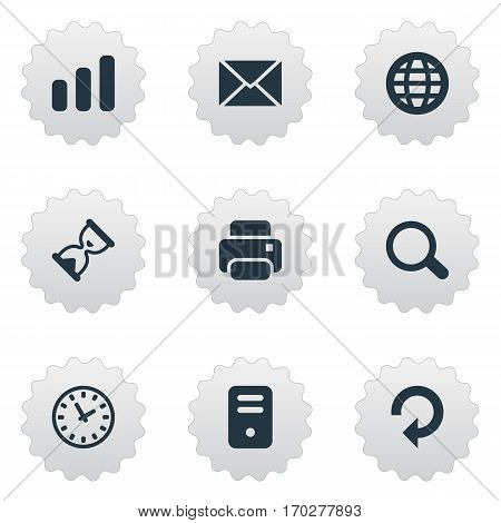 Set Of 9 Simple Practice Icons. Can Be Found Such Elements As Printout, Refresh, Watch And Other.