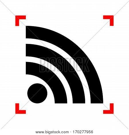 RSS sign illustration. Black icon in focus corners on white background. Isolated.