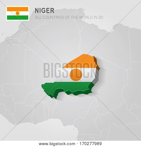 Niger painted with flag drawn on a gray map.
