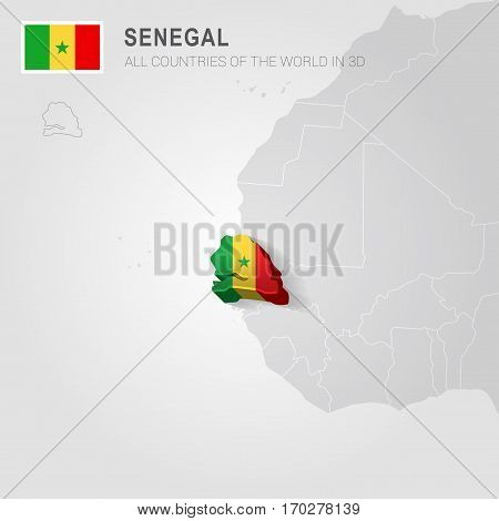 Senegal painted with flag drawn on a gray map.