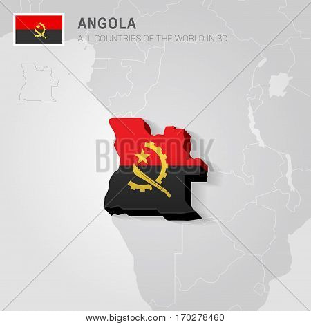 Angola painted with flag drawn on a gray map.
