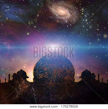 Temple in eastern style. Universe with galaxies on a background.  3D Render  Some elements provided courtesy of NASA