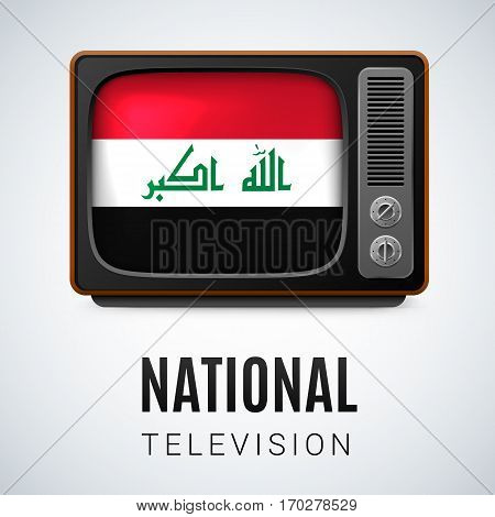 Vintage TV and Flag of Iraq as Symbol National Television. Tele Receiver with Iraqi flag