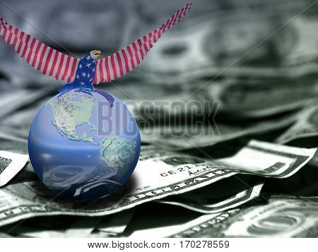 Eagle in national colors sits on a globe. US dollars.  3D Render  Some elements provided courtesy of NASA
