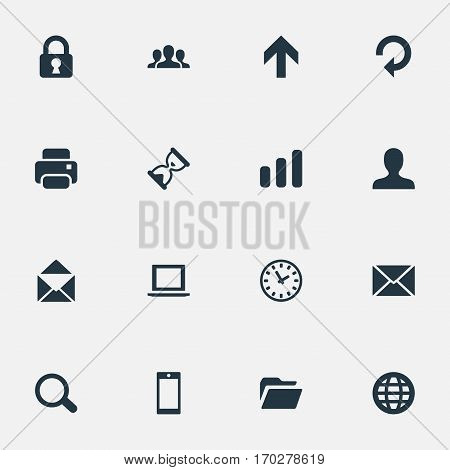 Set Of 16 Simple Application Icons. Can Be Found Such Elements As Dossier, Sand Timer, Statistics.