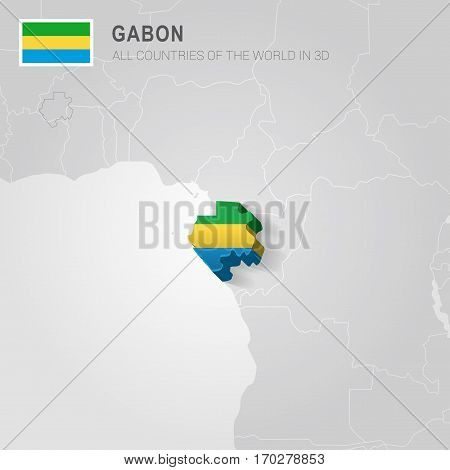 Gabon painted with flag drawn on a gray map.