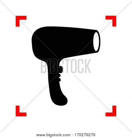 Hair Dryer sign. Black icon in focus corners on white background. Isolated.