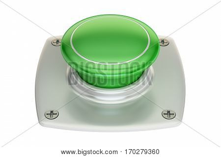 blank green push button 3D rendering isolated on white background