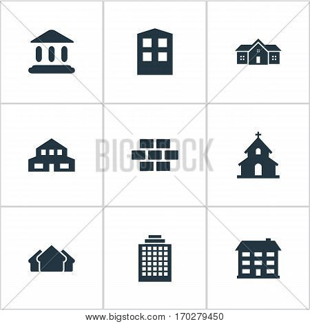 Set Of 9 Simple Structure Icons. Can Be Found Such Elements As Residence, Booth, Construction And Other.