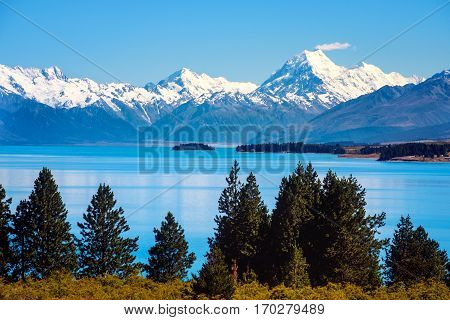 Scenic View Of Lake Pukaki And Mt Cook, New Zealand