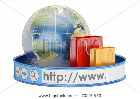 worldwide e-shopping online shopping concept. 3D rendering isolated on white background