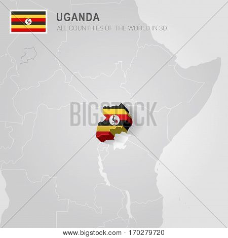 Uganda painted with flag drawn on a gray map.
