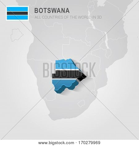 Botswana painted with flag drawn on a gray map.