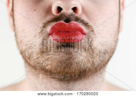 Bearded Man's Mouth with Red Lipstick on his Chubby Lips.