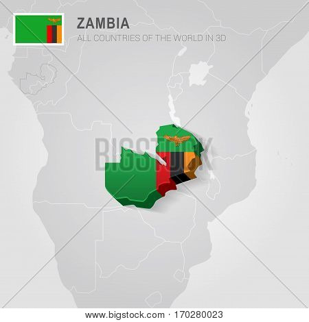 Zambia painted with flag drawn on a gray map.